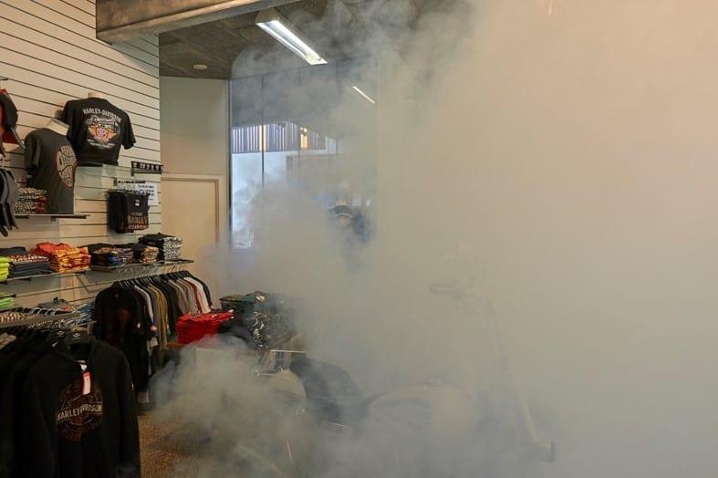 Security fog hides expensive Harley-Davidson jackets